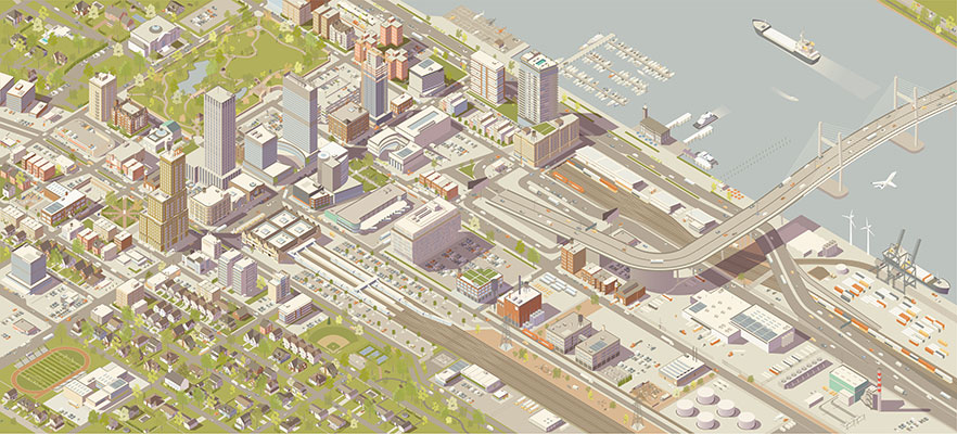 Illustration of an isometric city