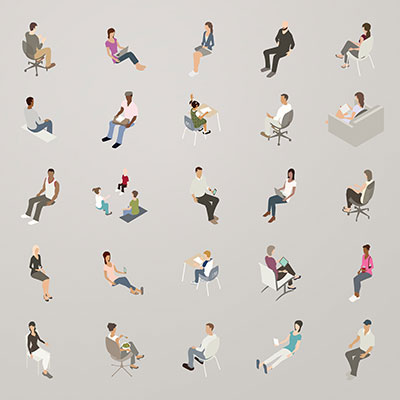 Illustration of isometric people sitting