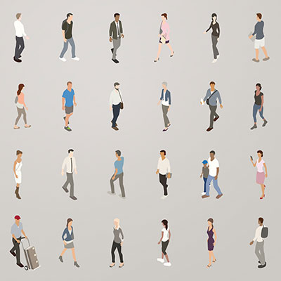 Illustration of isometric people walking