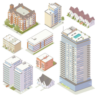 Illustration of isometric apartment buildings