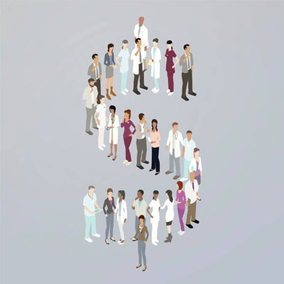 Doctors forming a dollar sign