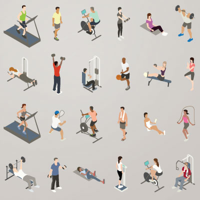 Illustration of isometric people working out