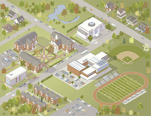 Illustration of an isometric college campus