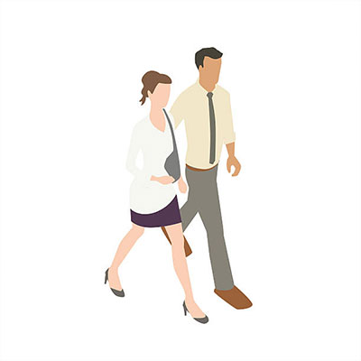 Illustration of an isometric couple walking