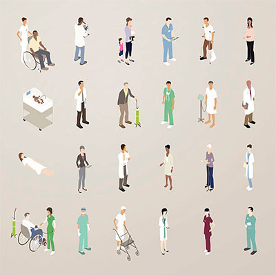 Illustration of isometric doctors and patients