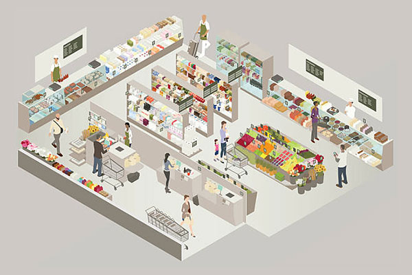 Illustration of a grocery store cutaway