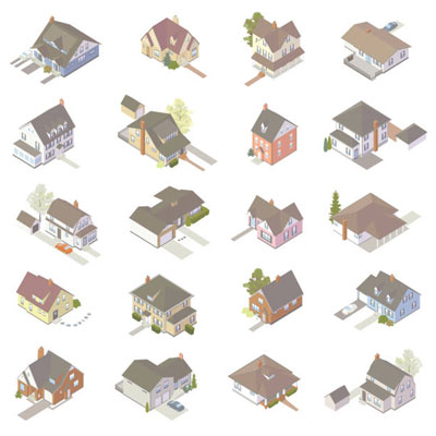 Illustration of isometric houses
