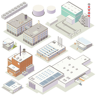 Illustration of isometric industrial buildings