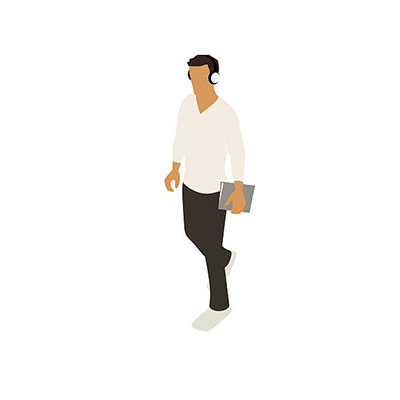 Illustration of a young man walking in isometric view