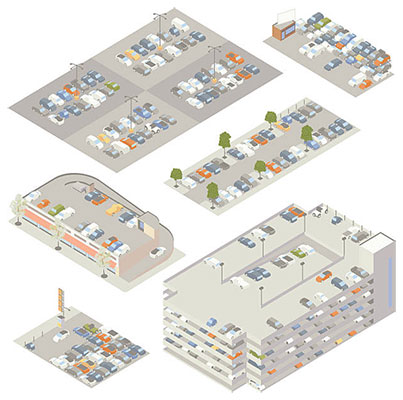 Illustration of isometric parking lots