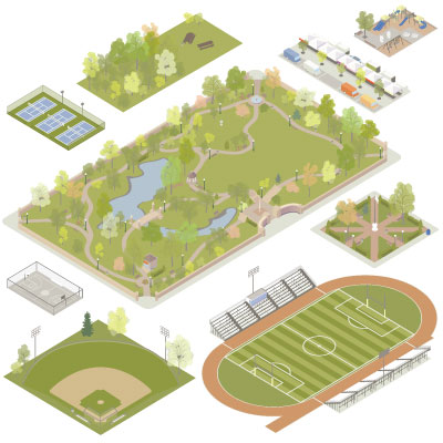 Illustration of isometric parks
