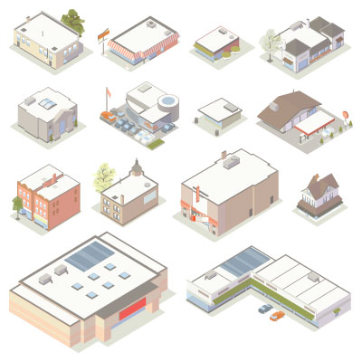 Illustration of isometric shops and businesses