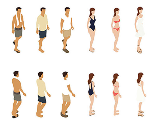 Illustration of isometric people dressed for summer