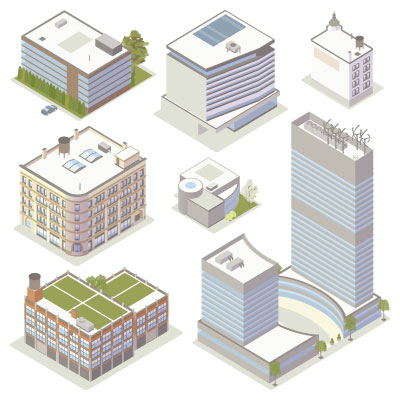 Illustration of isometric office buildings
