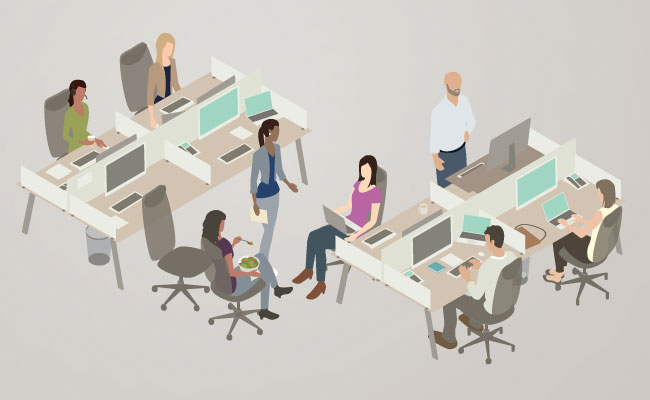Illustration of office collaboration
