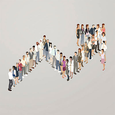Illustration of people forming a trend arrow